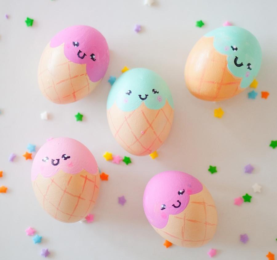 ¡Para morir de amor! DIY huevos de pascua con forma de helados kawaii :)