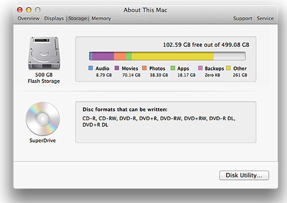 Clean Up Mac Disk Storage Space