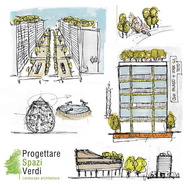 Schizzi progettuali e concept giardini e terrazzi