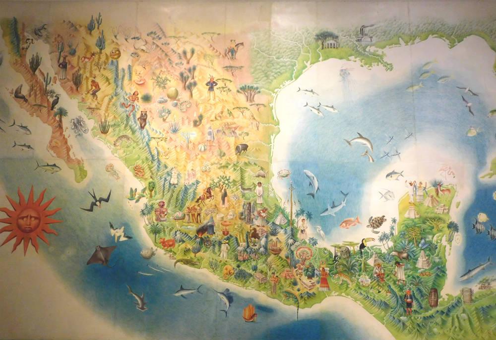 Mural jos miguel covarrubias en el museo de arte popular for Arte mural mexicano