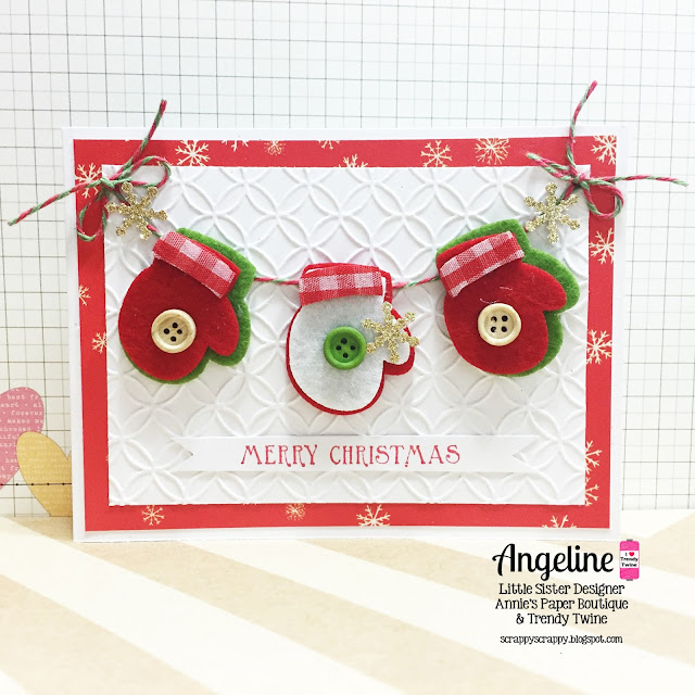 Trendy Twine : Mitten Garland with Angeline #trendytwine #scrappyscrappy #christmas #hollyberry #festive #mittengarland #card