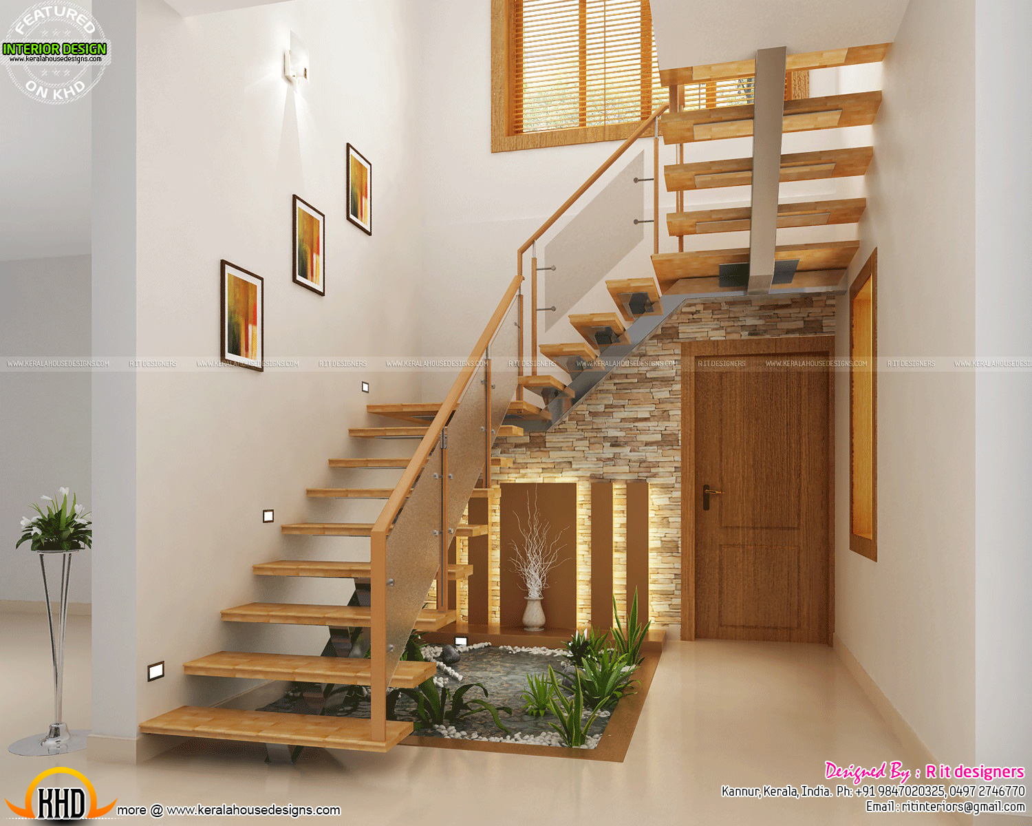 Under Stair design, wooden stair, kitchen and living