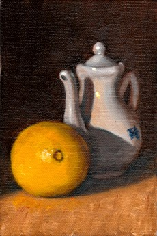 Oil painting of a lemon beside a small white porcelain teapot.