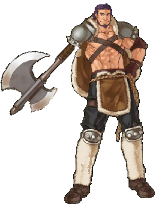 Largo from Fire Emblem: Path of Radiance with an axe arm.