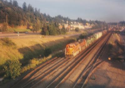 BNSF GP38-2 #2099 in Kalama, Washingon, on July 13, 1997