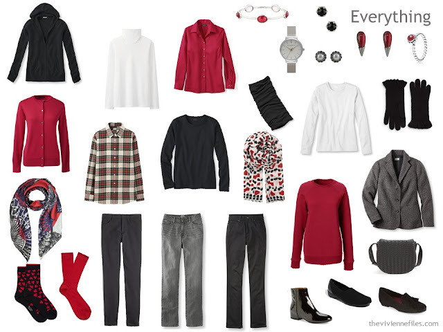 A Winter Travel Capsule Wardrobe in Black, Red and White