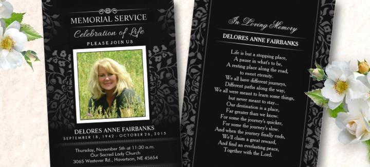 beautiful black & white ladies memorial service invitation