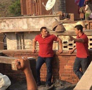 On Sultan-Set: Salman Khan with his stunt double