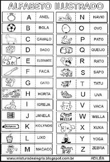 Alfabeto ilustrado para colorir