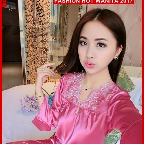 FWS082 Baju Tidur Sleepwear Import Rose Satin BMGShop