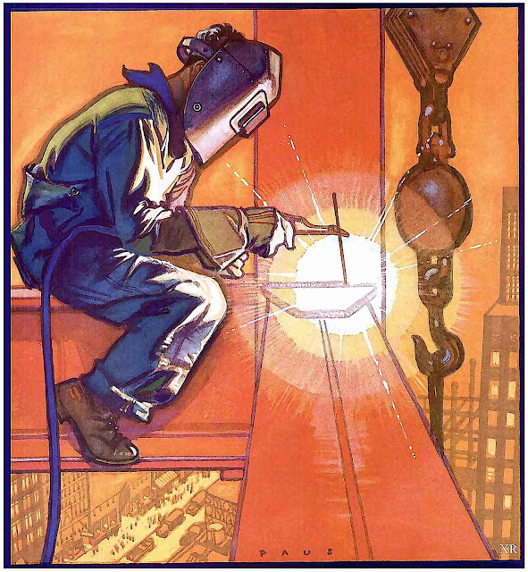 a Herbert Paus illustration of a welder high up