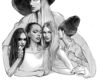 Mujeres retrato a lápiz