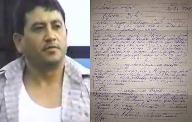 """Marco Antonio García Simental EL CRIS"""" """"8-9"""" envía carta a Mariano Soto, quien acudirá a """"EL ALTIPLANO"""" A ENTREVISTARLO"""