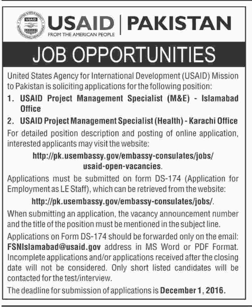 USAID Jobs in Pakistan