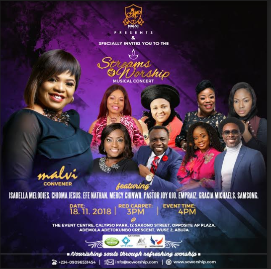 EVENT: STREAMS OF WORSHIP MUSICAL CONCERT WITH MALV  |  SUNDAY, NOVEMBER 18, 2018