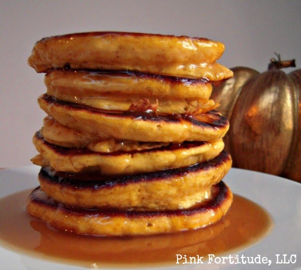 Pumpkin Pancakes with Maple Burbon Syrup