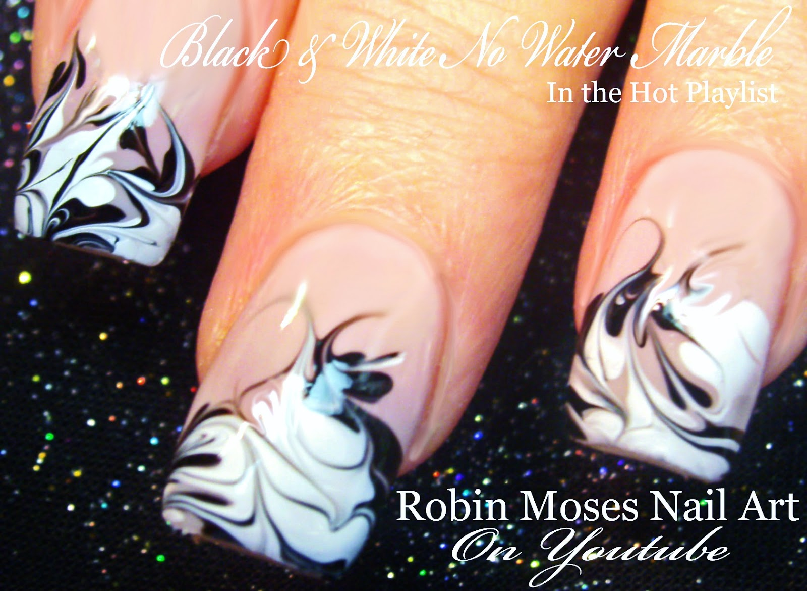 Nail Art By Robin Moses No Water Marble Nail Art Design Tutorial