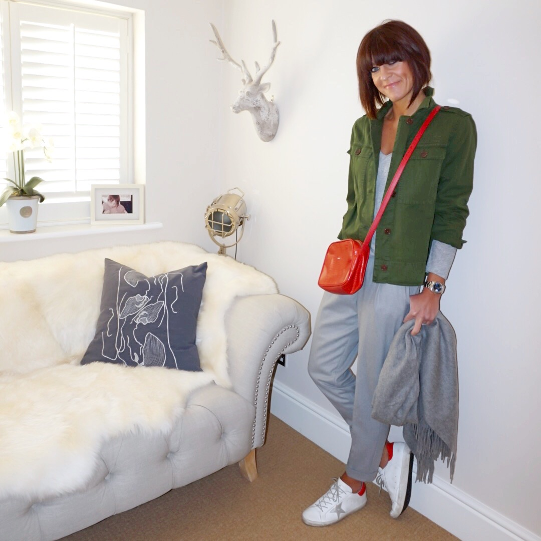 my midlife fashion, j crew pleated overshirt, j crew vintage cotton long sleeve deep v neck t shirt, uterque mock croc crossbody bag, asos oversized lambswool scarf with tassels, golden goose superstar low top leather trainers, mango pleated grey trousers