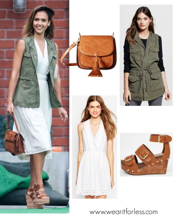 Greylin Shandi Eyelet Dress $58 (regular $181) I also love this one and this one with higher necklines // Mossimo Cargo Vest $30 - buy 1 get 1 50% off (see this vest being worn a the bottom of this post) // Park Lane Flatform Sandals $51 (regular $91) I also like this pair for under $25 (regular $55) // Gabriella Rocha Lora Saddle Handbag $30 (regular $80)  celebrity street style