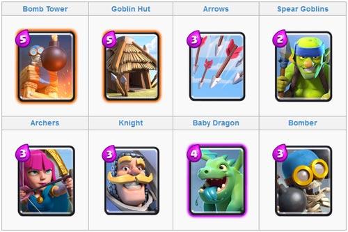 Menggunakan Baby Dragon untuk kartu deck di battle clash royale
