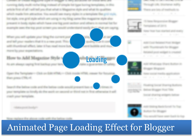 Animated page loading effect for blogger