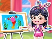 Give Baby Hazel an artist makeover in the fun dress up game. Dozens of trendy costumes, hairstyles, hair accessories and shoes to dress up Hazel. Customize the outfits and accessories as per your fashion taste to give a hot new look to her. Two enchanting backgrounds, take your pick. Don't forget to give paint brush and palette to darling Hazel.