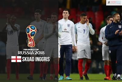 Skuad Susunan Pemain Inggris di Piala Dunia 2018