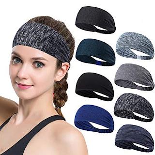 Set of 8 Women s Yoga Sport Athletic Workout Headband For Running Sports  Travel Fitness Elastic Wicking Non Slip Lightweight Multi Style Bandana  Headbands ... 481923c5499