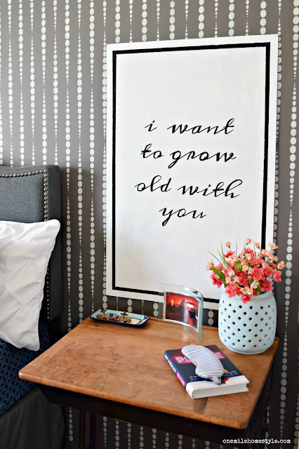 I Want To Grow Old With You Black and White DIY Typography Wall Art