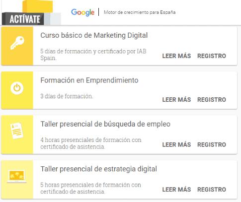 formación presencial en Google España