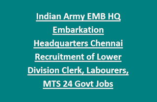 Indian Army EMB HQ Embarkation Headquarters Chennai Recruitment of Lower Division Clerk, Labourers, MTS 24 Govt Jobs