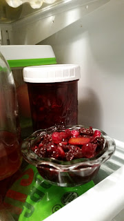 Gifted berries made into a delicious Cranberry Dried Cherry Sauce.