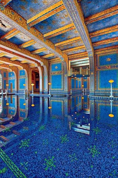 Indoor roman pool hearst castle california - Hearst castle neptune pool swim auction ...