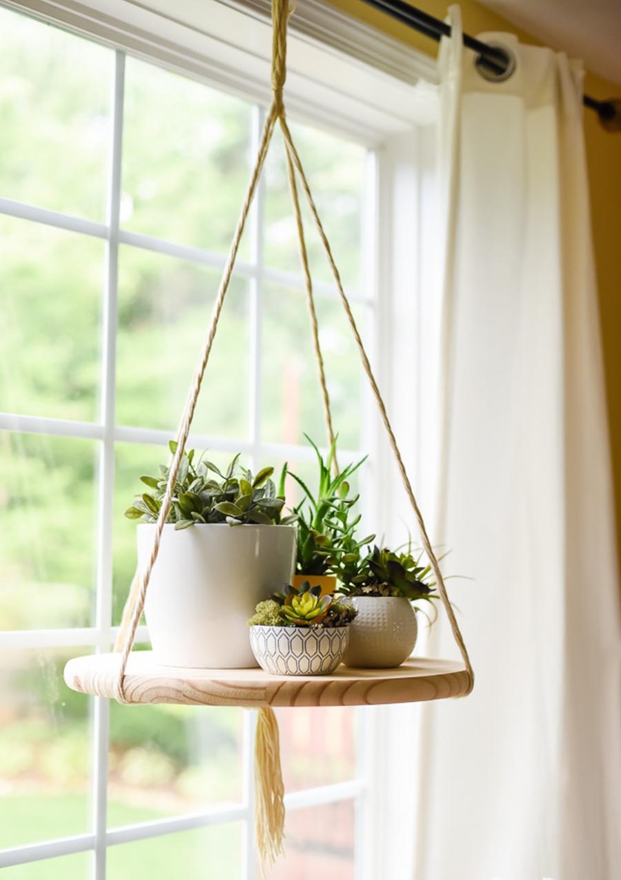 DIY - wiszący kwietnik w skandynawskim stylu, zrób to sam, wystrój wnętrz, wnętrza, urządzanie mieszkania, dom, home decor, dekoracje, aranżacje, kwietnik wiszący, półka wisząca, floating shelf