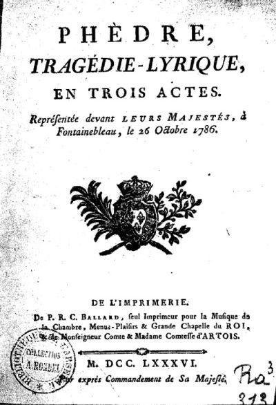 Phèdre de Lemoyne (1786) frontispice du livret de Hoffmann