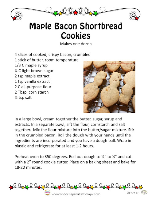 Virtual Christmas Cookie Swap- maple bacon shortbread and a delicious linky too! www.speechsproutstherapy.com