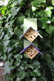Home-made insect hotel for solitary bees