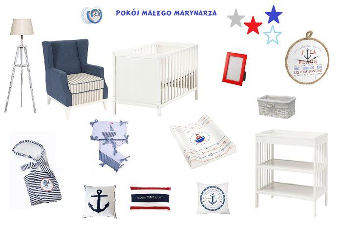 Pokój niemowlaka w stylu marynistycznym.