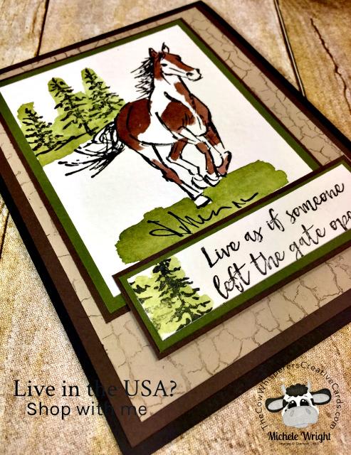 Card, Let It Ride, Crackle Paint, Horse,