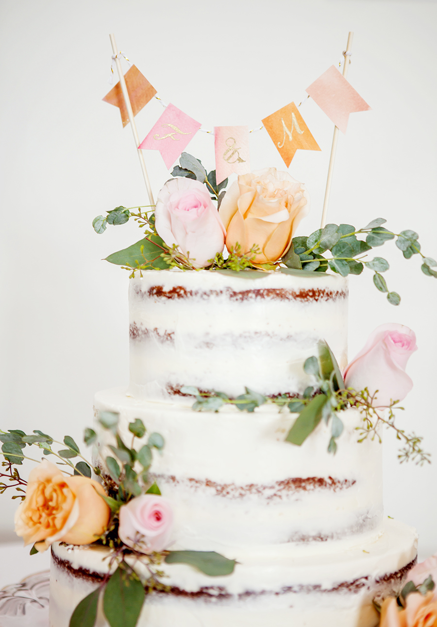 Wedding DIY /// Watercolor Bunting Cake Topper | Design Fixation