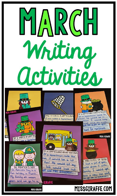 March writing prompts for fun March writing activities for St Patricks Day including How to Catch a Leprechaun, If A Leprechaun Rode the Bus, If I had a Pot of Gold, and so many more fun ideas!