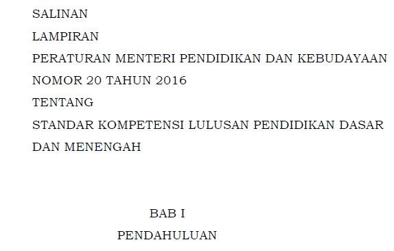 Download Lampiran Permendikbud Nomor 20 Tahun 2016 tentang SKL Pendidikan Dasar dan Menengah