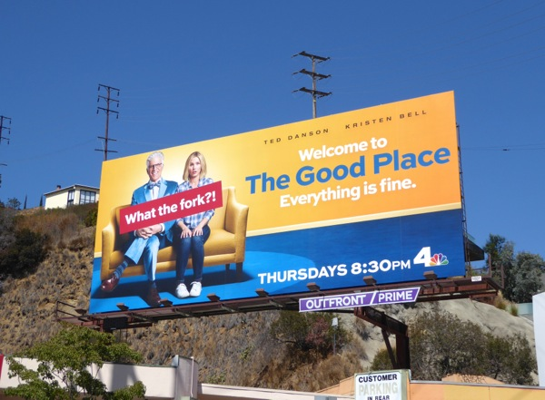 Good Place What the fork billboard