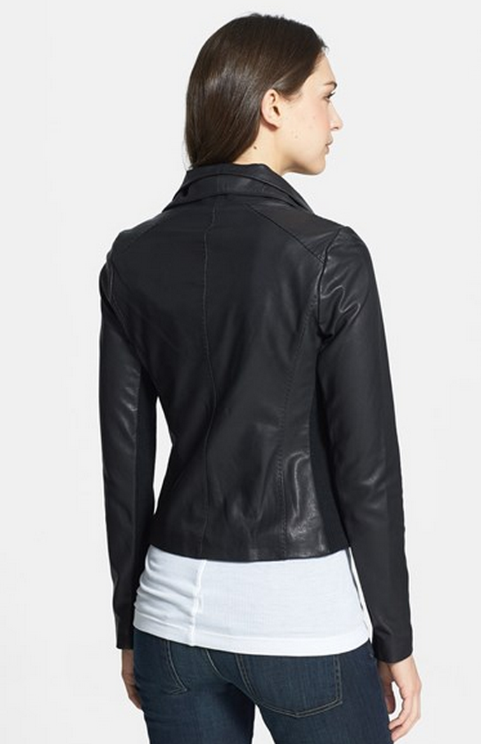 My Superficial Endeavors Vince Leather Scuba Jacket In Black
