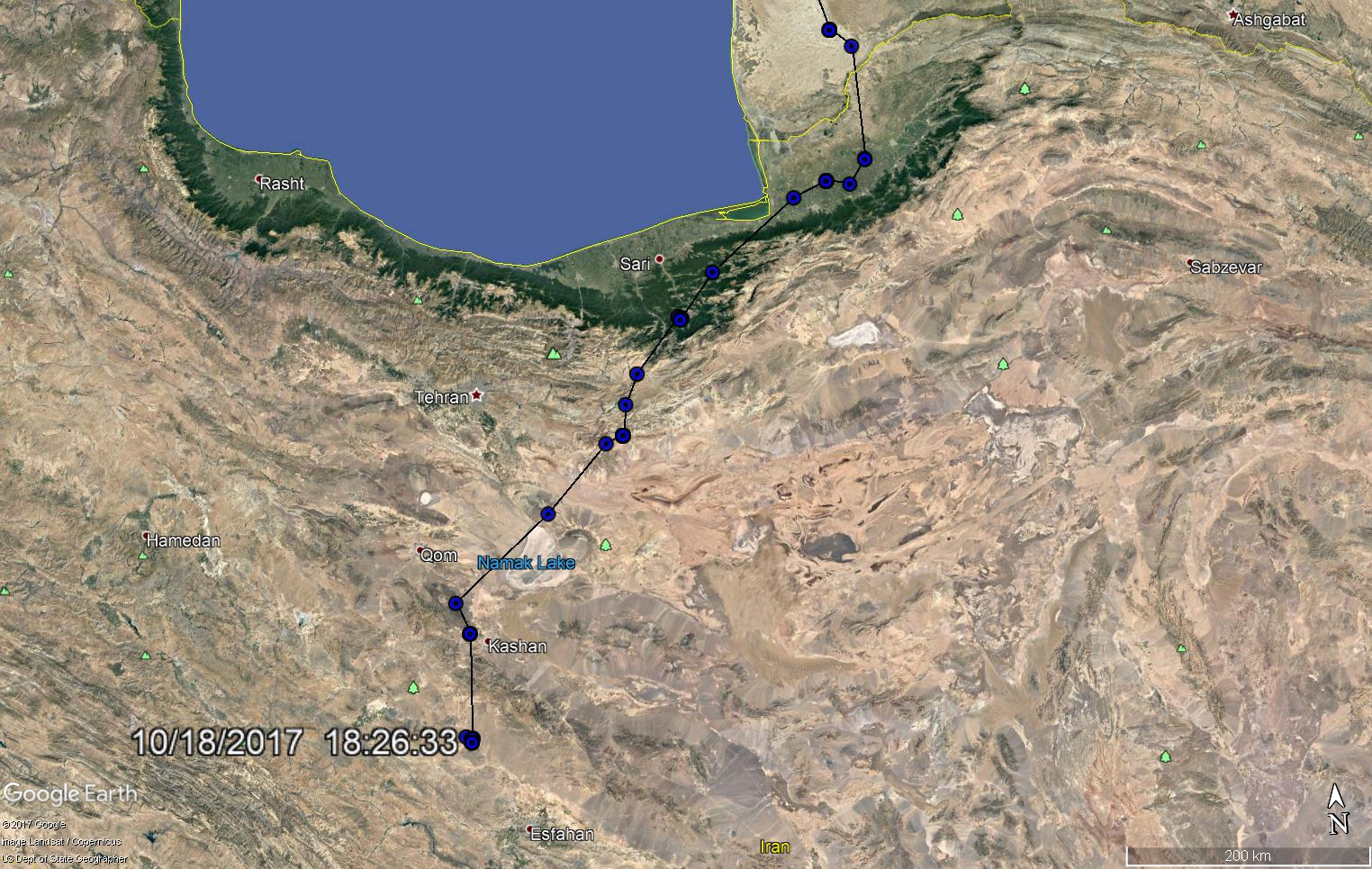 Movements of a Steppe eagle 162312 as