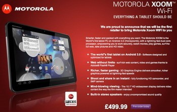 Motorola Xoom WiFi for the UK spotted online