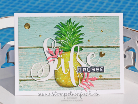 Grußkarte mit Ananas