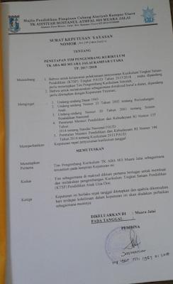 Contoh SK Penetapan Tim Pengembangan Kurikulum Taman Kanak-kanak  Contoh SK Penetapan Tim Pengembangan Kurikulum TK/KB (Major)