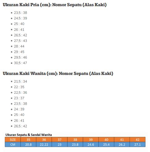 tabel ukuran dan nomor sepatu atau sandal