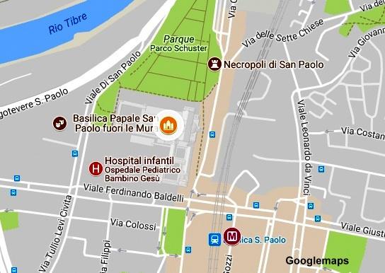 Mapa para chegar à Basílica de São Paulo Extramuros, em Roma